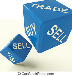 Buy Trade And Sell Blue Dice Representing Business And...