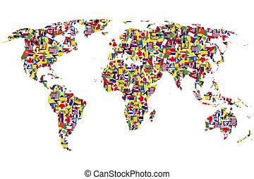 mundo, mapa, feito, Bandeiras