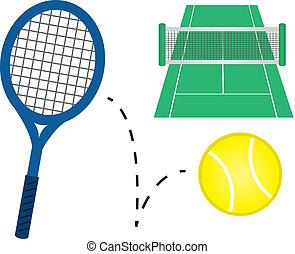 Tennis Equipment - Tennis racket, tennis ball and court