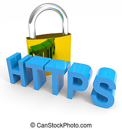 Padlock and HTTPS word. Internet safety concept. Computer...