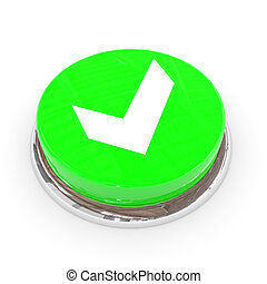 Green round button with white tick sign.