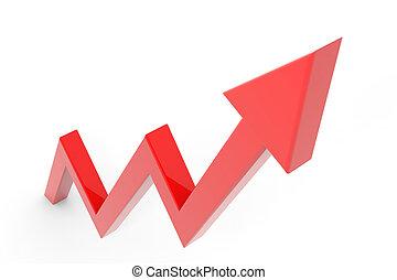 Red arrow going up. Success business metaphor.