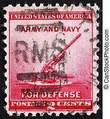 Postage stamp USA 1940 90-millimeter Anti-aircraft Gun -...