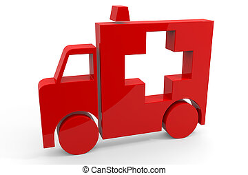 Red 3d sign of ambulance. Computer generated image.
