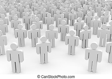 3D crowd of people.