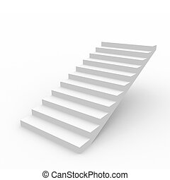 White staircase - White staircase isolated on white...