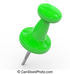 Green thumbtack on a white background.
