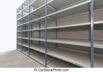 Empty storage room - Long empty metal shelf in storage room