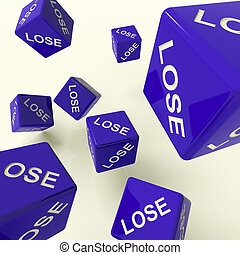 Lose Blue Dice Representing Defeat And Loss