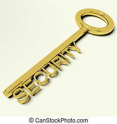 Security Gold Key Representing Safety And Encryption