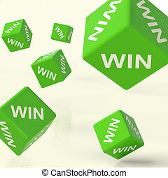 Win Green Dice Representing Triumph And Success