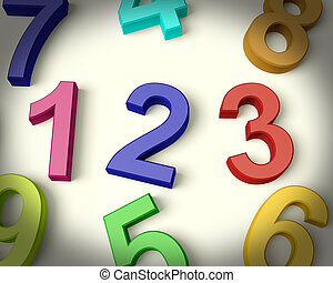 Kids Multicolored Numbers Representing Numeracy And...