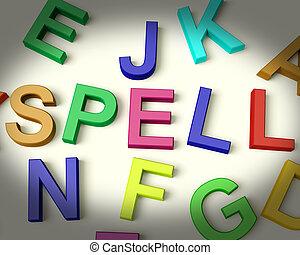 孩子, 信件, 咒語, 多种顏色, 寫, 塑料