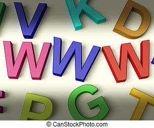 WWW, niños, Cartas, multicolor, escrito, plástico