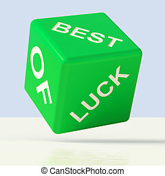 Best Of Luck Green Dice Representing Gambling And Fortune