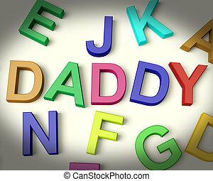 塑料, 孩子, 信件, 多种顏色, 寫, 爸爸