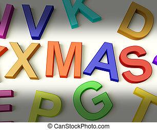 孩子, 信件, 多种顏色, 寫, 塑料, 聖誕節