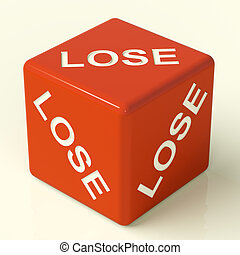 Lose Red Dice Representing Defeat And Failure