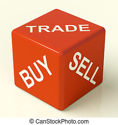 Buy Trade And Sell Red Dice Representing Business And...