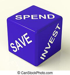 Save Spend Invest Blue Dice Showing Financial Choices