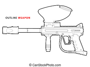 paintball marker - vector outline paintball marker on white...