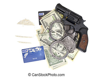 drugs, gun and money isolated on white background