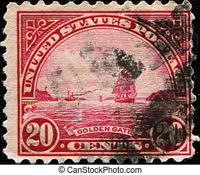 Golden Gate - USA - CIRCA 1922: A stamp printed in USA shows...