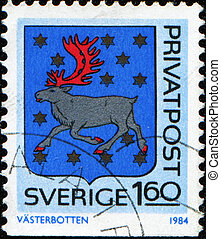 Coat of arms of Vasterbotten - SWEDEN - CIRCA 1984: A stamp...