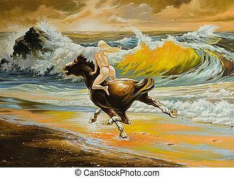 saltando, cavalo,  seacoast, menina