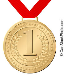 gold medal - Gold medal isolated on a white background....