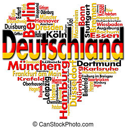 I Love Deutschland - Written Deutschland and german cities...