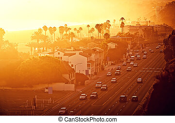 Sunset at Santa Monica, California - Sunset at Santa Monica...