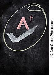 A plus written on a blackboard - A plus sign written on a...