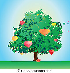Love tree with sweet heart puzzles