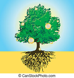 Magic money tree with golden roots and Euro coins