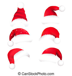 Santa Hat - 6 Santas Hat, Isolated On White Background,...