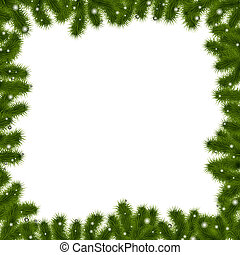 Xmas Border With New Year Tree, Isolated On White...