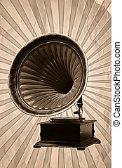 Gramophone - gramophone with horn speaker for playing music...