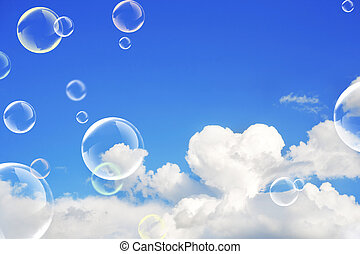 Cloud and soap bubbles - The soap bubbles. White cloud in...