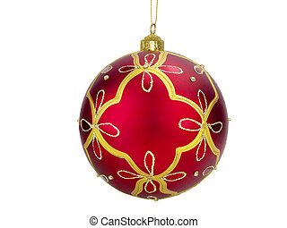 Red ball - Christmas tree red ball decoration on white...