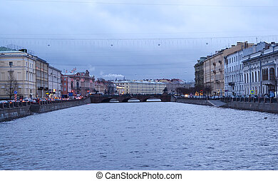 View of Fontanka river on a cloudy day, St.Petersburg,...