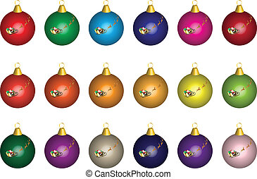 Xmas Baubles - Multi Coloured Christmas Baubles with Santa...