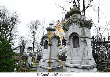 Old graves on Nikolskoye cemetery, St.Petersburg, Russia.