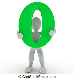 3D Human charcter holding green zero, 3d render, isolated on...