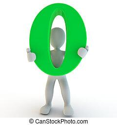 3D, human, charcter, segurando, verde, zero