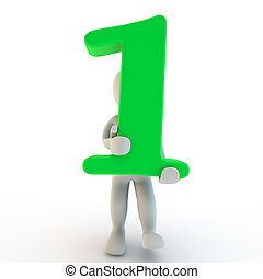 3D Human charcter holding green number one