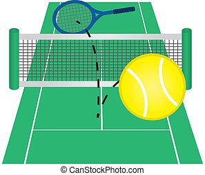 Tennis Court - Tennis ball hit over net