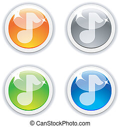 Sound buttons - Sound realistic buttons Vector illustration...