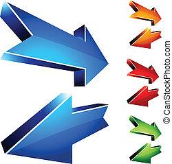 Return arrows. - Return 3D arrows. Vector illustration.