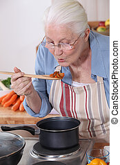 A grandmother cooking